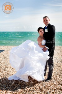 Bride and groom at Bognor beach