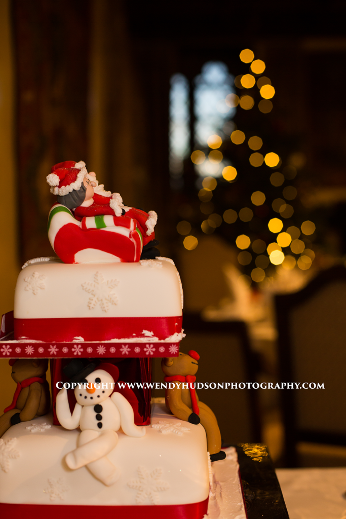 Christmas wedding cake and christmas tree lights