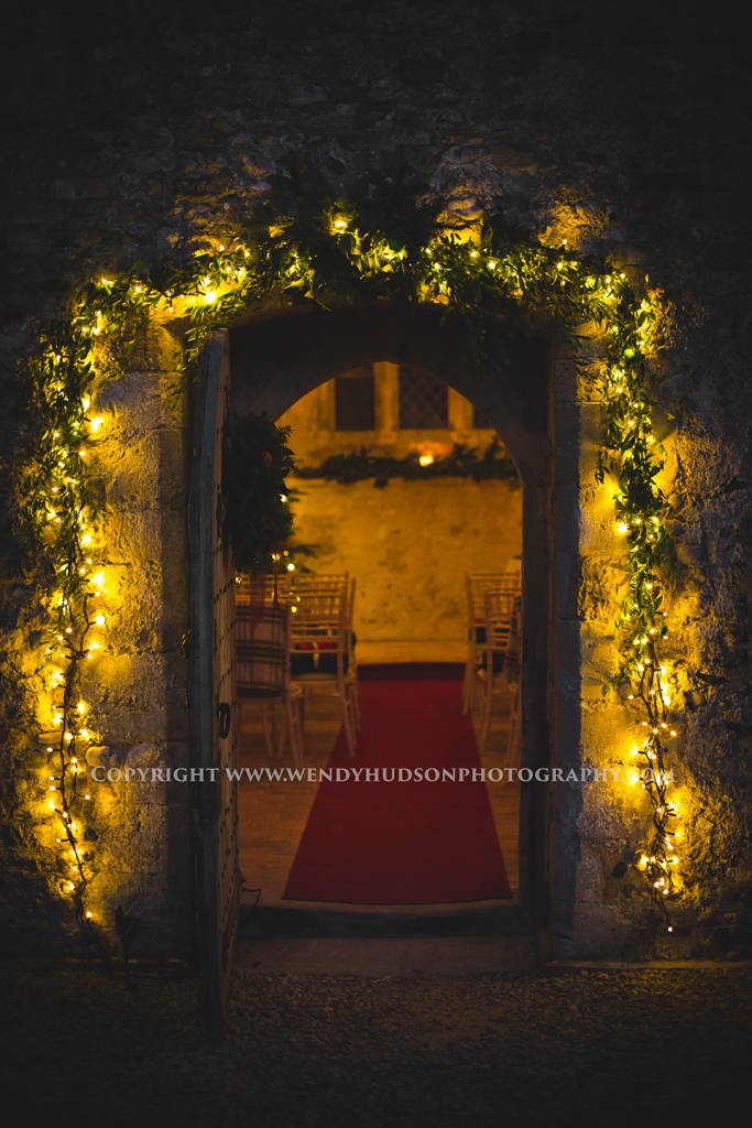 Bailiffscourt wedding chapel lit for a winter wedding